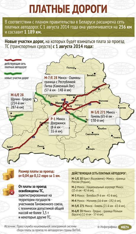 В Беларуси стало на 256 км больше платных дорог