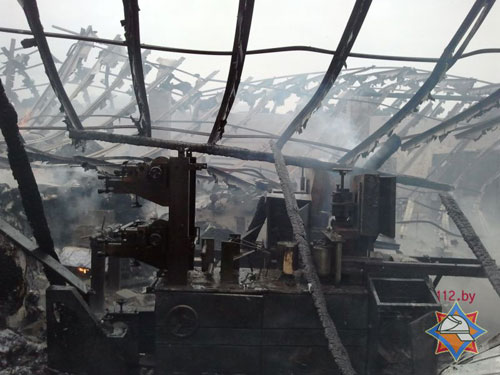 Пожар в цехе по производству туалетной бумаги (Кобринский район Брестской области, 2 км южнее д. Борисово) уничтожил 19 тонн готовой продукции