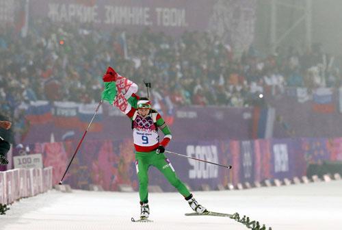 Белорусские болельщики ждут выступления Дарьи Домрачевой в женской биатлонной гонке на 15 км