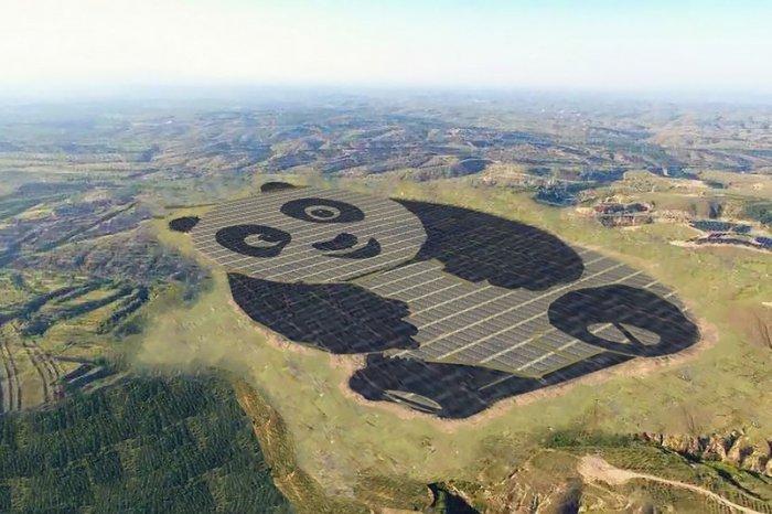 КНР построил солнечную электростанцию вформе огромной панды