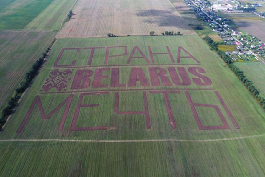 Тракторы вспахали землю, чтобы написать «Belarus— страна мечты»