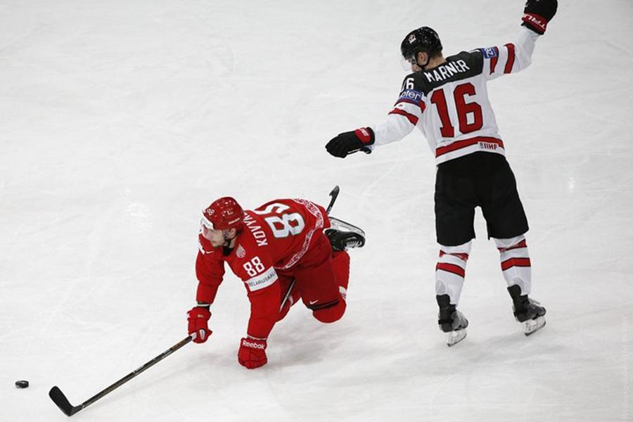 Сборная Беларуссии похоккею уступила втоварищеском ледовом поединке канадцам