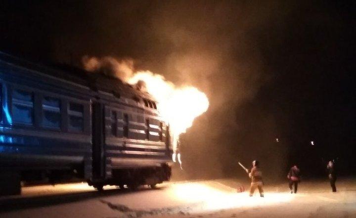 ВКобринском районе зажегся дизель-поезд Брест-Пинск