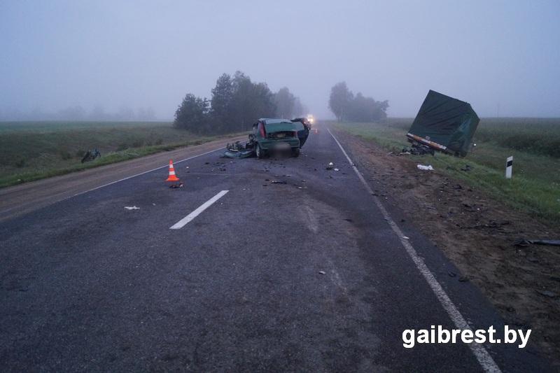 ВПружанском районе столкнулись фура илегковушка, один шофёр умер