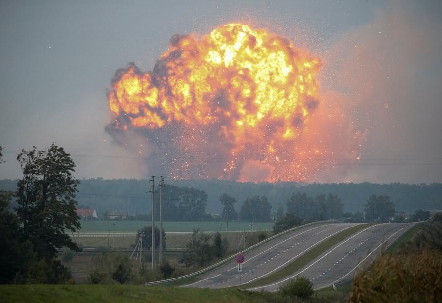 ВВинницкой области произошел пожар наскладе боеприпасов