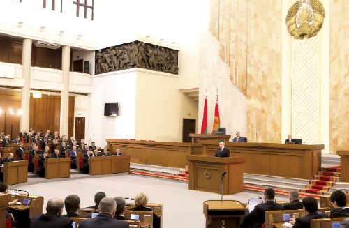 Alexander Lukashenko takes part in session at National Assembly`s House of Representatives