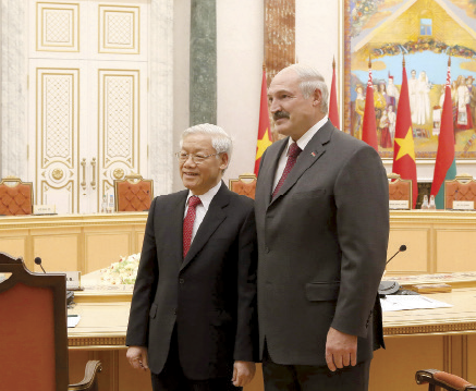 Alexander Lukashenko and Nguyen Phu Trong during their meeting in Minsk