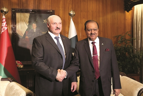 President of Belarus Alexander Lukashenko during his meeting with President of Pakistan Mamnoon Hussain