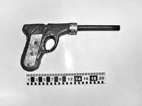 Этот «пистолет» весит 2 кг. Его длина — 248 мм, высота —115, ширина — 30.