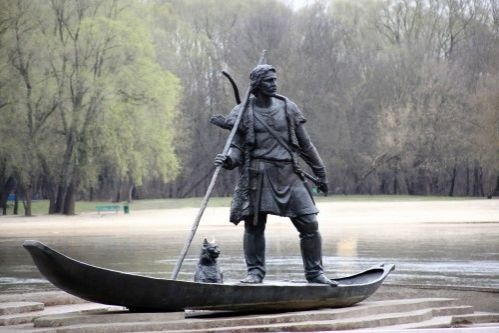 Monument  to the first resident of Gomel at the bank of the River Sozh in Gomel