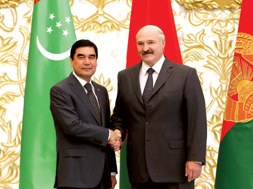 Alexander Lukashenko and Gurbanguly Berdimuhamedov during their meeting