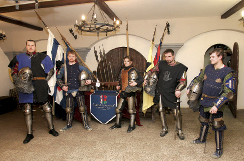 Members of historical reconstruction Luzern club recreate military traditions