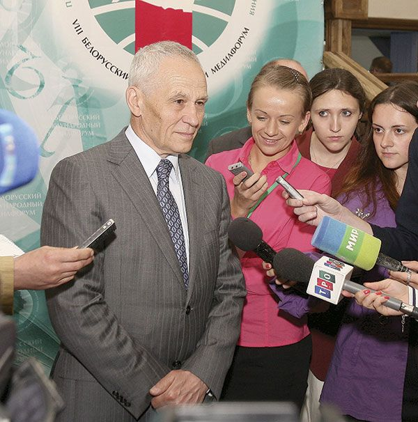 State Secretary Grigory Rapota is answering the journalists' questions