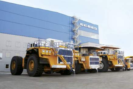 At the production facility of heavy-duty dump trucks in Zhodino