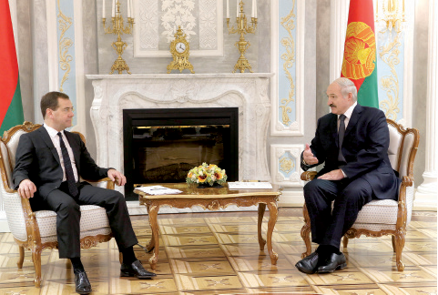 Alexander Lukashenko during his meeting with Dmitry Medvedev