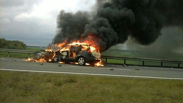 ДТП наМ1— две машины сгорели, умер шофёр