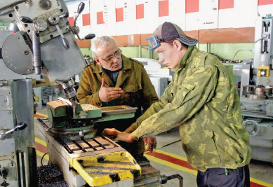 Lathe operators trained at Gomel's Technical Training College #144