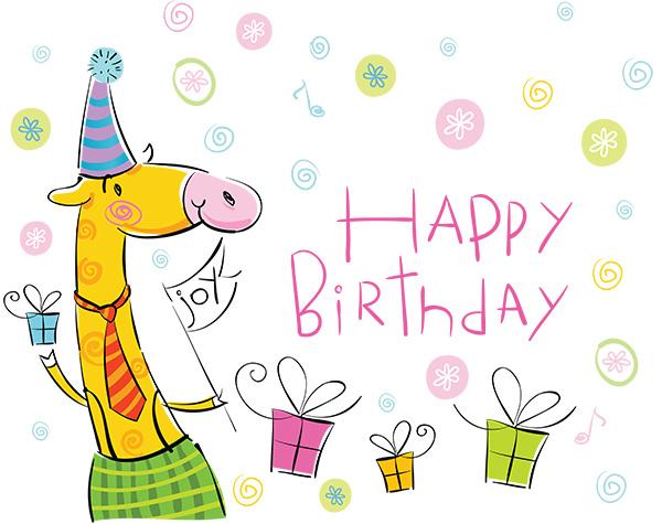 Рисованная открытка с Днем Рождения
