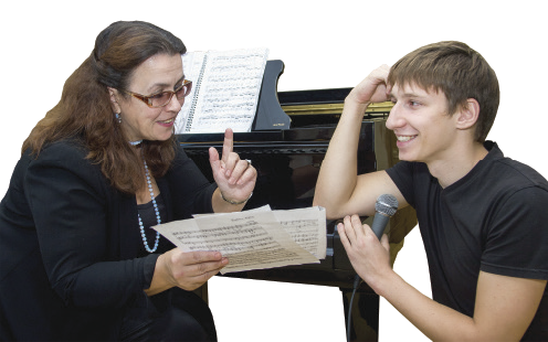 Yelena Atrashkevich with Alexander Savanets, laureate of the republican competitions, at the vocal lesson