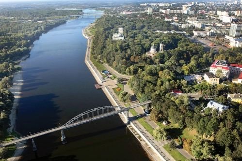Famous Gomel park over the River Sozh