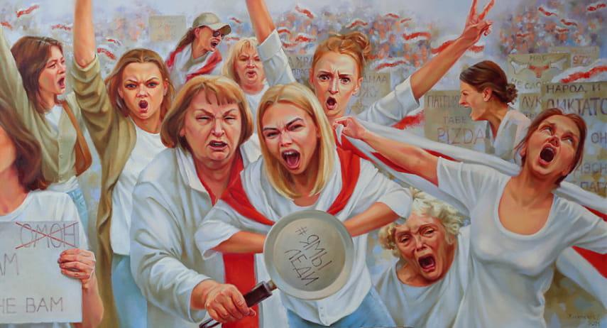 Узнаваемые типажи «невероятных» дам: художница Светлана Жигимонт  презентовала новую картину «Женский марш»